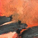 Rot und Schwarz I / Acryl, Stifte auf Papier / 25x25