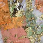 Wie im Himmel / 2018 / Acryl, Wachs, Blattgold, Seidenpapier auf Papier / 42x30