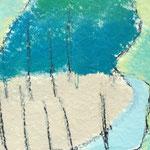 Wasserkante / Acryl, Stifte auf Papier / 25x25