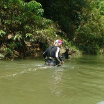 Crossing a river in Khao Sok