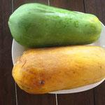 1 grüne und 1 reife Papaya