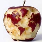 Ein Apfel symbolisiert die Welt