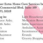Senior Super Extra Home Care Services Inc business card back