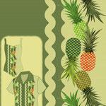 Pineapples Border zig Zag Teal Sage
