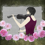Violin and Roses digital paper collage