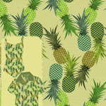 Pineapples Tossed Pinstripe Sage