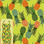 Pineapples Tossed White Dot Lime Ground