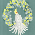 Cockatiel with daisy palm wreath