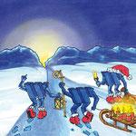 Weihnachtskarte handgemalt für W&W, Aussenseite