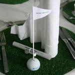 Golfturnier Bayern LB mit Namensschildern im Golfball