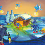 Weihnachtskarte handgemalt für W&W, Innenseite