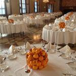 Deko in der Residenz mit Orangenkugeln