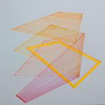 dimensions, 2020, 30 x 30, Tusche, Leuchtstift, Tape auf Papier