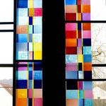 6-teiliges Seitenfenster, St. Bonifatius, Werkstattaufbau bei Derix-Glasstudios, Taunusstein, Foto: Celia Mendoza © 2018