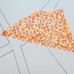 Skizzenbuch: loops and dimensions, 30x30 cm, 2019, Tape, Tusche auf Papier