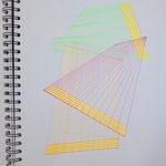dimensions_points of coordination,  2021, 30x40, Tusche+Leuchtstift+Tape auf Papier_1