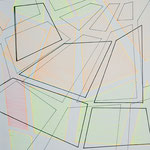 Skizzenbuch: dimensions, 2019, 30 x 30 cm, Leuchtstift +Tusche auf Papier