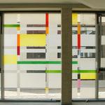 Evangelische Montessorischule, Freiburg i.B. 2014, Glastechnische Ausführung: Derix Glasstudios Taunusstein; Westfenster;  Foto: Celia Mendoza
