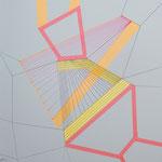 Skizzenbuch: loops and dimensions, 30x30 cm, 2020, Tape, Tusche, Leuchtstift auf Papier