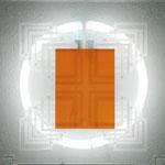 o.T., 2014, Glas-Licht-Installation, sandgestrahltes/beklebtes Floatglas/Neonring, je 30 x 30 cm, Foto: Celia Menodza