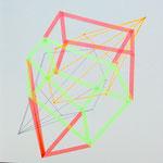 Skizzenbuch: loops and dimensions, 30x30 cm, 2019, Tape, Tusche, Leuchtstift auf Papier
