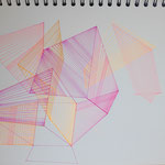 dimensions_points of coordination, 2021, 30x40, Tusche+Leuchtstift auf Papier_2