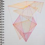 structures, 2021, 30x40, Tusche+Leuchtstift auf Papier
