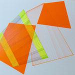 dimensions, 2020, 25 x 30, Tusche, Leuchtstift, Tape, Folie auf Papier
