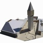 Pfarrkirche St. Paulus Balingen-Frommern, Modell 1:50 von Südwesten