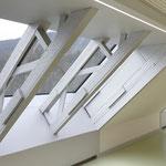 Laiblinschule Pfullingen, historische Nagelbrettbinder mit aufgelegtem Fensterband