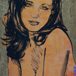 Gillian | David Bromley | Acrylic and Metallic Gold Leaf on Canvas | 560x760mm