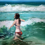 Windy Swim | Oil on Canvas | 550x450mm - framed | Liz Gray