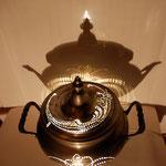 Infinie : lampe photophore bonbonnière en étain ancienne