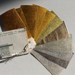 Plusieurs métaux précieux battus en feuille sont disponible:  Or rouge, or jaune, or vert, or blanc, palladium; argent, moongold