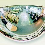 Kugelförmiger Spiegel - 1/4 Kugel waagrecht/senkrecht. Überprüfung von 3 Richtungen.