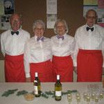 Unser elegantes 'Serviceteam': v.l.n.r: Kurt Leuenberger, Bethli Bobst, Vera Bärtschi, Franz Bobst