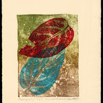 Blue and Red leaves 2 litho/mono print