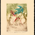 Blue and Red leaves litho/mono print