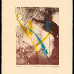 Blue and Yellow leaves litho/mono print