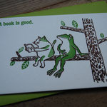 "'a book is good"" letter press card with envelope - ¥432"