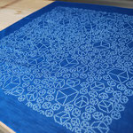 "indigo dye handkerchief ""cubes"" - ¥1404"