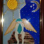 Ангел (по мотивам картин Ирен Роздобудько). Размер 13х18 см. Работа выполнена Дарьей Белан (11 лет)
