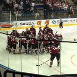 Team Latvija vor dem Spiel gegen Deutschland