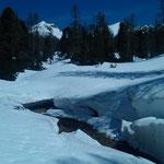 mit Turnschuhen durch den Schnee