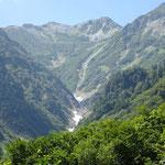 雪渓の先に見えるのが針ノ木岳