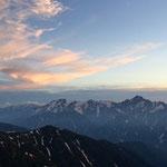 山荘前の絶景...剱、立山連峰