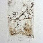 * 1030- Gravure,estampe musique : Jacques au violoncelle, le doyen du groupe,