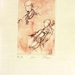 *1054-Gravure,estampe musique :  Le duo , violoncelle et violon