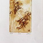 *1056-Gravure,estampe musique :  Le duo , violoncelle et violon