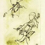 *1035-Gravure,estampe musique :  Le duo , violoncelle et violon